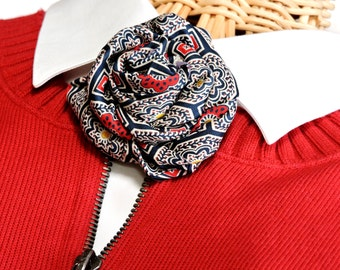Silk Flower Corsage, Ladies Navy Necktie Floral Brooch, Vintage Mens Neck Tie Art, Eco Chic Unique Fashion Accessory itsyourcountryspirit