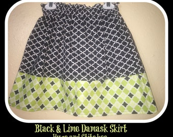 Black and Lime Damask Skirt  Ready to ship   size 6
