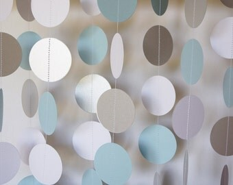 BLUE - WHITE - SILVER Paper Garland, Boys Baby Shower Decoration, Baby's First Birthday Decor, Pastel Blue Wedding Decor,10 ft.
