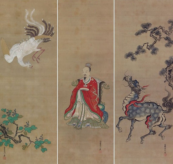Antique Japanese Scroll: Antique Japanese Fine Art Wall Hanging Scroll By