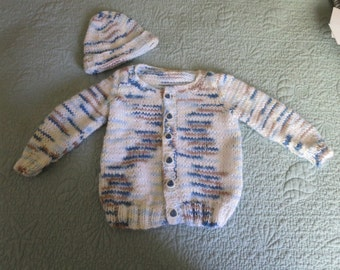 Hand knit baby boy blue, brown, white cardigan and hat