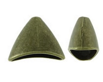 8pc 20x16mm antique bronze flat cone shape metal bead caps-8481