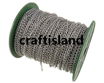 Wholesale 100 meters 4.2x3.2mm  platinum look side twisted chain in roll-10099D