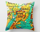 Custom New Jersey Pillow Cover, NJ Map Pillow, New Jersey Gift, Cape May, Newark, Any City Jersey Gift Custom Map Gift, NJ Strong