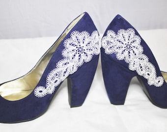 Navy Blue Lace Chunky Heels