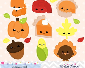 INSTANT DOWNLOAD, kawaii fall clipart and vectors for personal and commercial use