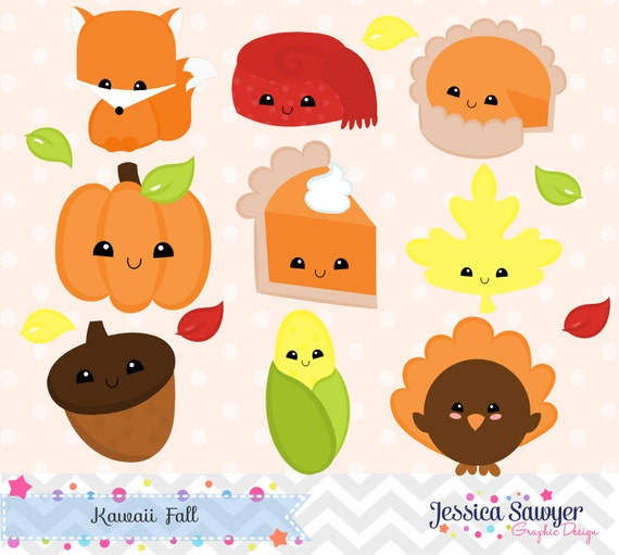instant download kawaii fall clipart and vectors for personal and