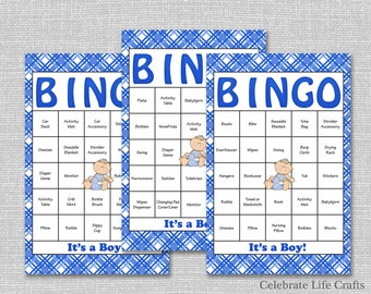 30 Baby Shower Bingo Cards - Printable Party Baby Boy - Instant Download - Blue Plaid Baby Shower Gift Bingo B003
