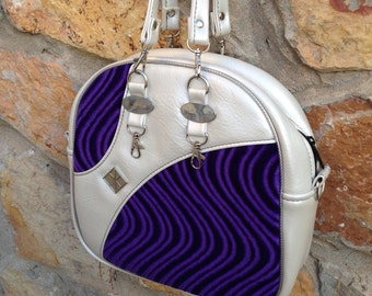 Crushed Swirled Velvet • Purple Rockabilly Handbag • Lowrider Retro Vinyl Bag • Low Rider Old School Purse • Pin Up • Made in USA