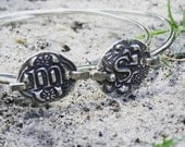 Personalized initial Bangle- Personalized silver bracelet- initial wax seal bracelet- stacking bracelet- stacking bangle -