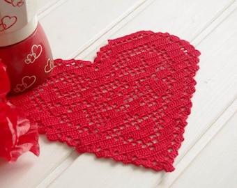 Red heart crochet doily Crochet heart doily Cotton lace doily Valentine's day decorations