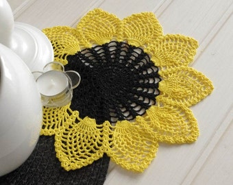 Crochet doily sunflower Cotton flower doily Crochet  lace doily Crochet doilies Home decor elements Yellow black doily 281