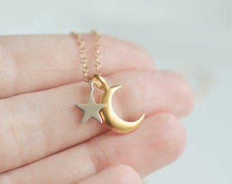 Moon and Star Necklace - Gold Crescent Necklace - Sterling Silver Star Necklace - Dainty Everyday Necklace