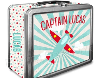 Airplane Classic Tin Lunch Box with or without Side Wrap | Back To School | Aviation | Airplane Captain | Keepsake Box | Image on Both Sides