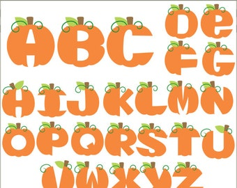 Pumpkin Alphabet Clip Art -Personal and Limited Commercial Use- pumpkins letters Clipart