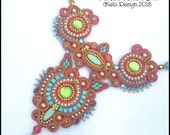 Soutache necklace in Pink, Orange, Gold, Turquoise and Green OOAK
