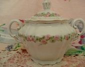 Vintage Shabby Sugar Bowl Vienna Austria The Munich China Sugar Pink Rose Cottage Chic