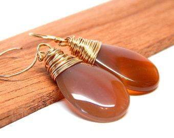 Large Carnelian Earrings, orange smooth stone earrings, gold filled jewelry, burnt orange jewelry
