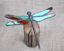 Red Iridescent Dragonfly Stained Glass Sculpture on Wood Base