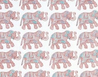 ON SALE - Elephant Fabric - Orange Teal Upholstery Fabric