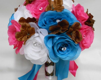 Wedding Silk Flower Bridal Bouquet Your Colors 2 piece White Turquoise Hot Pink Turquoise Chocolate Brown Groom's Boutonniere FREE SHIPPING