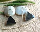 "Bohemian/Tribal Earrings, ""Zinnia"" Handcrafted, Black MOP Shell, Brass & Sterling, Boho-Chick"