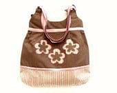 Brown cotton floral pink purse bag tote