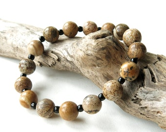 Stretchy bead bracelet - chunky beige brown cream black stone beads