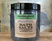 Detoxifying Bath Salts with Dead Sea Salt, Himalayan Pink Salt, Activated Charcoal, Bentonite Clay + Essential Oils. Herbal Bath Soak.