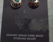 Sterling Silver- Turquoise Genuine Native American Bear Claw Pierced Earrings Christmas