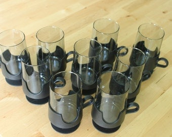 Vintage Set of 9 Glass mugs with removable Black Footed Base Corning Glas Snap Modern 1970s, small 8 ounce