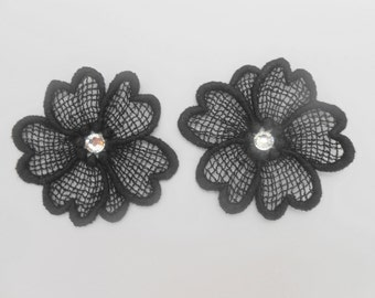 2 flowers in Black Lace with Crystal rhinestones