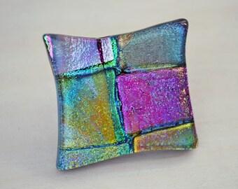 Fused Glass Knob, Patchwork Drawer Pull, Kitchen Art Glass, Dichroic Knob