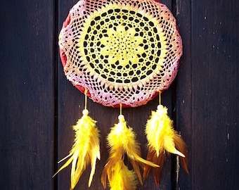 Dream Catcher - Woman Spirit - With Hand Painted Transitional Crochet Web and Pure Yellow Feathers - Mobile, Home Decor, Decoration