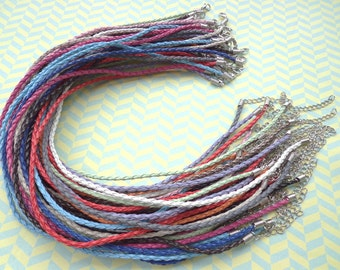 45pcs 3mm 16-18 inch adjustable assorted color(15 colors) faux braided leather necklace cord