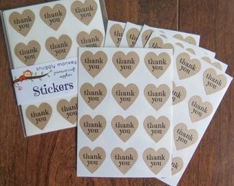 Thank You Stickers - 48 Mini Heart Stickers   Kraft Labels, Scrapbooking, Invitations, Packaging, Party Favors, Thank You Labels