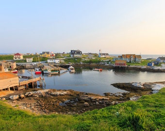 Peggy's Cove Photograph - Nova Scotia Print - Peggys Cove Lighthouse - Canada Maritimes Photo - Sunset Photo - Panorama View