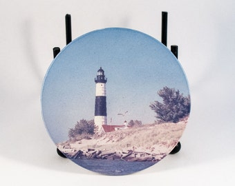 Sandstone Coaster, Big Sable Lighthouse Design, Historical, Nautical, Photograph