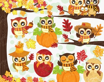 Autumn Owls Clipart Set