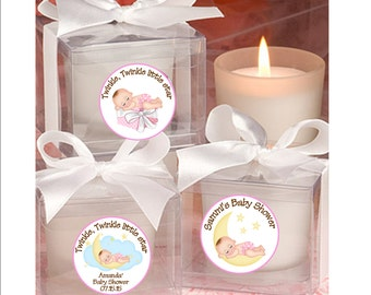 Baby Shower Baby Girl Candle favors - moon and stars, twinkle, twinkle little star theme - set of 12