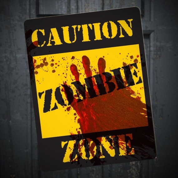 Fun halloween party ideas for adults zombie caution sign printable diy halloween walking dead party decoration blood spatter horror solutioingenieria Images