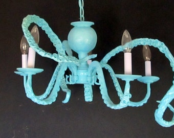 Beach, Coastal, Nautical, Baby or Child's Nursery Octopus Chandelier - YOU CHOOSE COLOR
