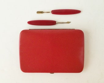 Vintage Manicure Kit in Red Leather Case, Manicure Tools, Travel Manicure Set, Midcentury Vanity Tools