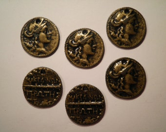 6 Antique Goldplated European Coin Charms