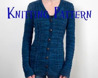 PDF Knitting Pattern - Penrith Cardigan, Sweater Knitting Pattern, Ladies Cabled Cardigan Pattern, Top Down Knitting Pattern, Aran Cardigan