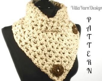 Crochet Scarf Pattern, Crochet Cowl Pattern, Infinity Scarf, Button Scarf, Crochet Scarf, Button Cowl, Woman's Scarf,  #112