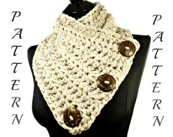 Crochet Scarf Pattern, Crochet Pattern, Crochet Cowl Pattern, Cowl, Neckwarmer Pattern, Button Scarf, Crochet Scarf With Buttons #115