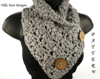 Crochet Scarf Pattern, Button Scarf, Crochet Button Cowl, Neckwarmer, Crochet Scarf, Crochet Cowl, Button Cowl Crochet Pattern, #113