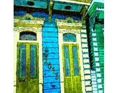 Colorful New Orleans Shotgun House Glicee Print 8x10 16x20 20x25 24x30 from original art - Putting on a Good Face - Korpita
