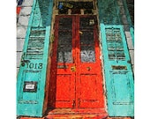 New Orleans French Quarter Colorful House Red Door Glicee Print 8x10 16x20 from original art - Korpita ebsq